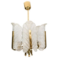 Orrefors Chandelier in Brass and Glass