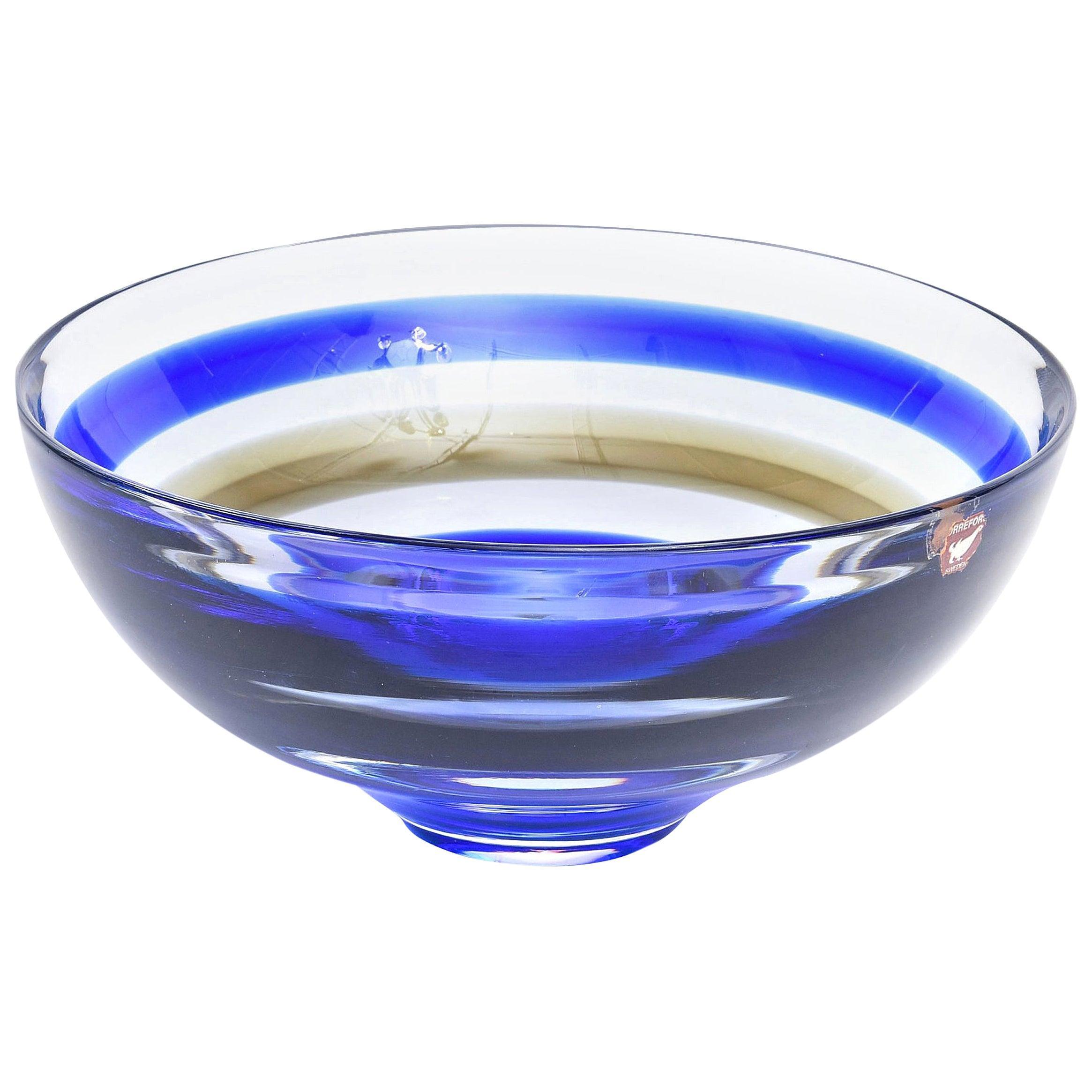 Orrefors Cobalt Blue and Brown Striped Crystal Glass Bowl Signed Vintage