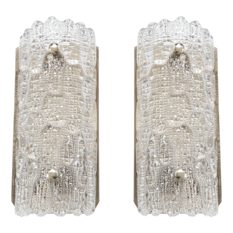 Orrefors Croco Embossed Crystal / Nickel Sconces, 1 of 3 Pairs
