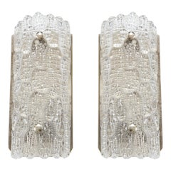 Orrefors Croco Embossed Crystal Sconces, 1 of 3 Pairs