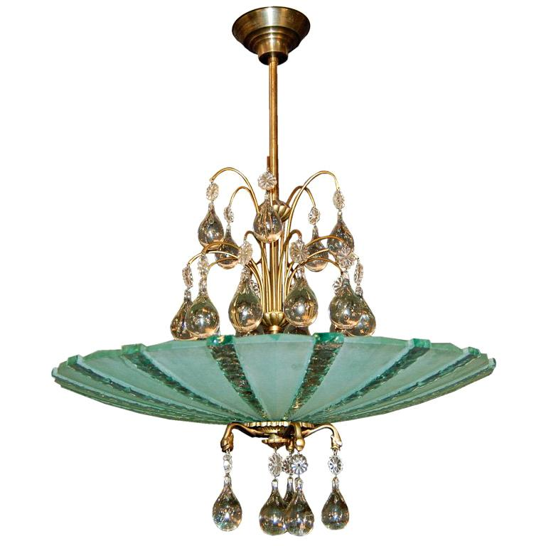 Orrefors Crystal Chandelier and Etched Glass Pendant Chandelier