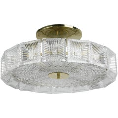 Orrefors Crystal Flush Mount designed by Carl Fagerlund.