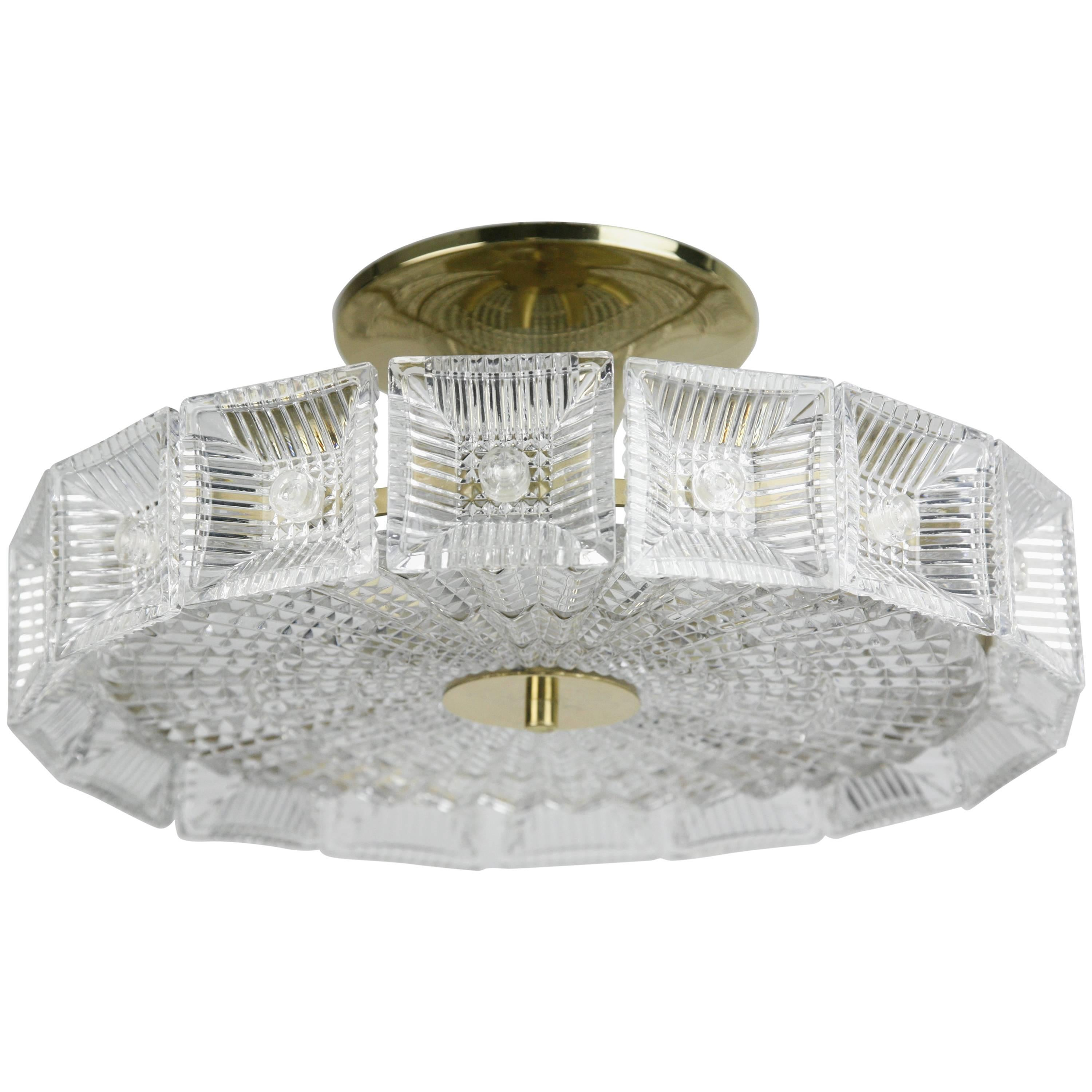 Orrefors Crystal Flush Mount Designed by Carl Fagerlund