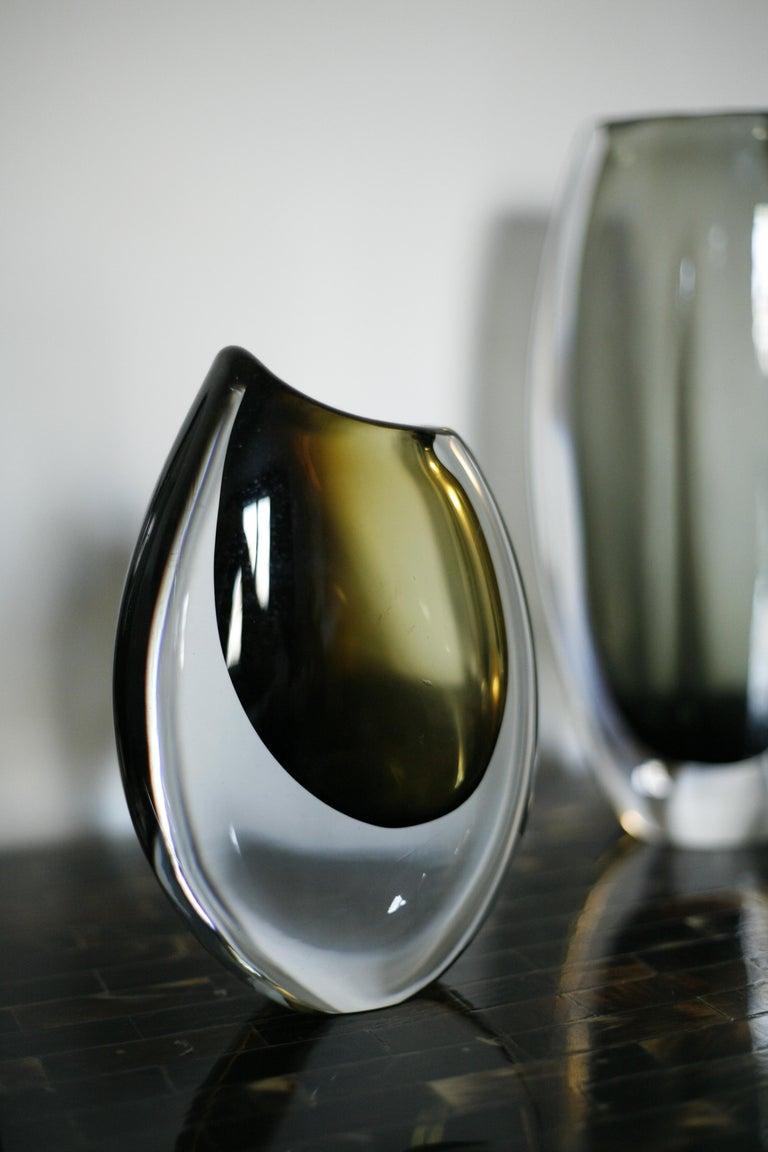 Hand-Crafted Orrefors Crystal Glass Vase, Sweden, 1960 For Sale