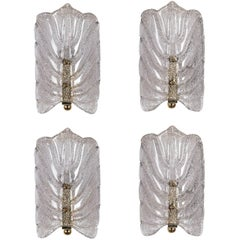 Orrefors Crystal Leaf Sconces