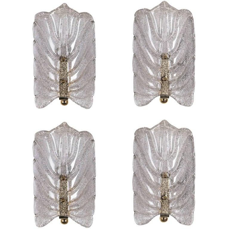 Orrefors Crystal Leaf Sconces For Sale