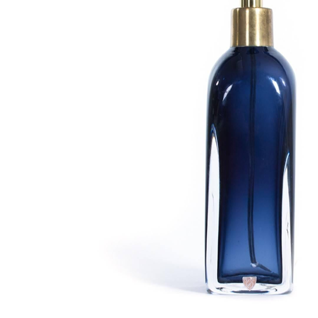 Orrefors Deep Blue Glass Table Lamp For Sale At 1stdibs