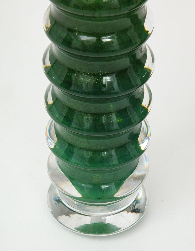 Orrefors Emerald Green Crystal Lamps For Sale 2