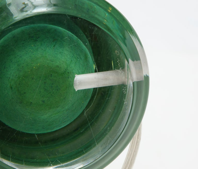 Orrefors Emerald Green Crystal Lamps For Sale 3
