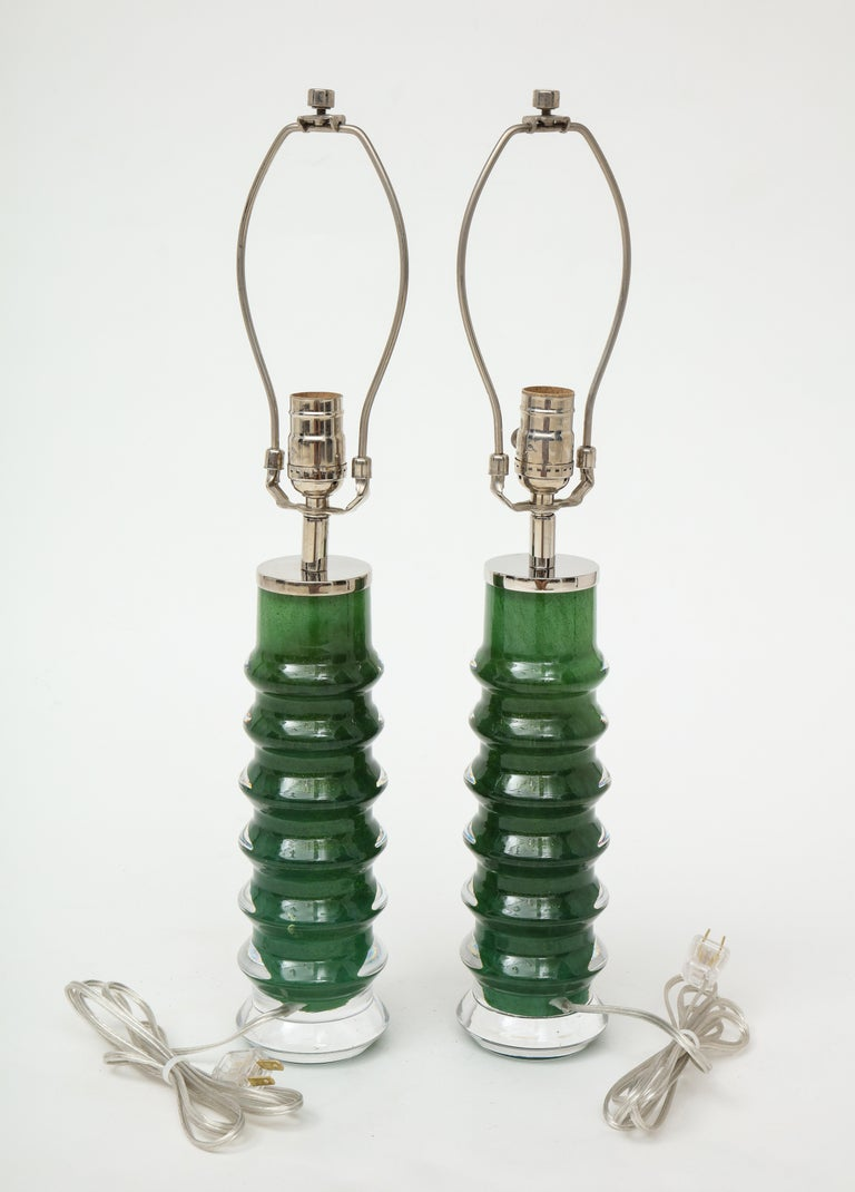 Scandinavian Modern Orrefors Emerald Green Crystal Lamps For Sale