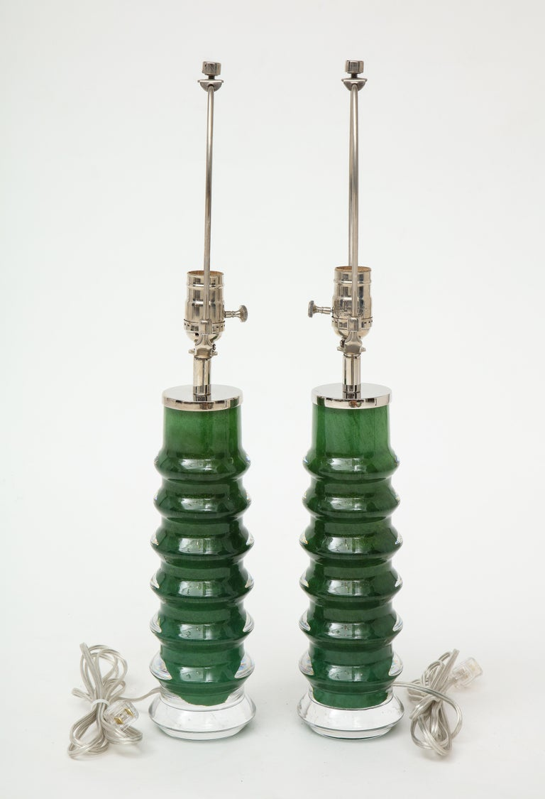 Swedish Orrefors Emerald Green Crystal Lamps For Sale