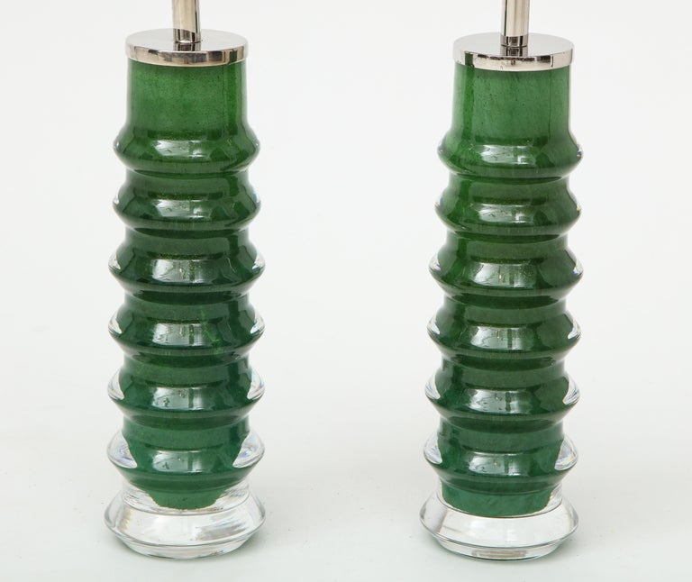 Hand-Crafted Orrefors Emerald Green Crystal Lamps For Sale