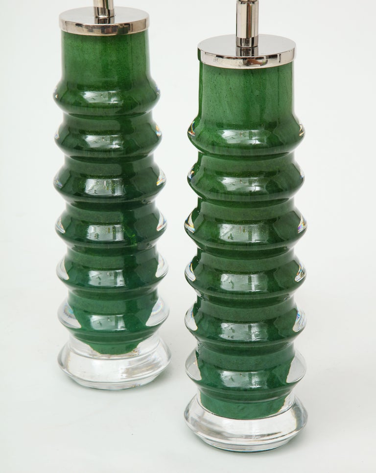 Orrefors Emerald Green Crystal Lamps In Good Condition For Sale In New York, NY