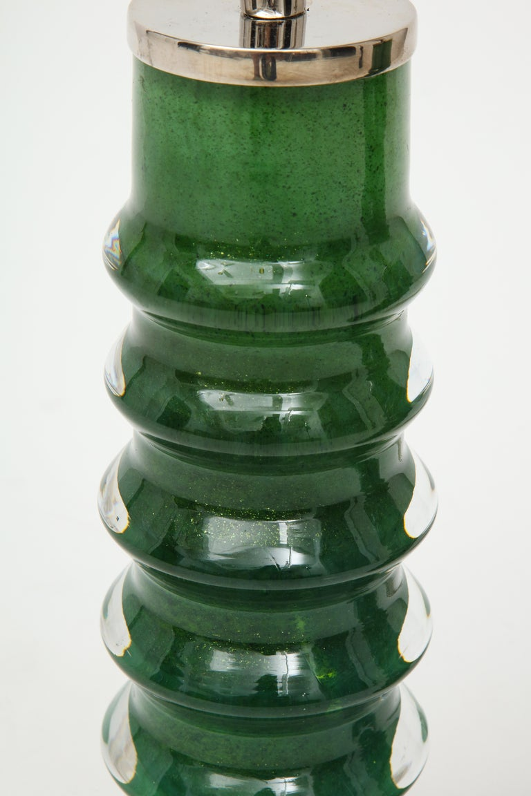 20th Century Orrefors Emerald Green Crystal Lamps For Sale