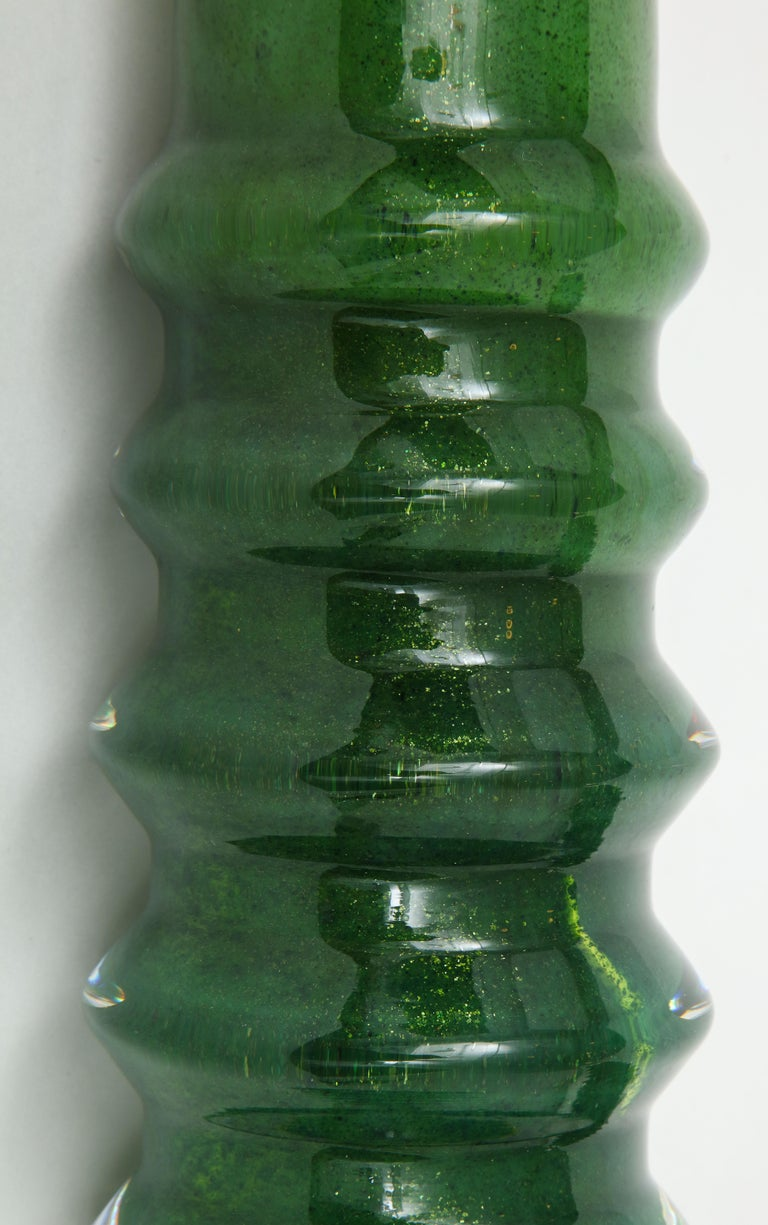 Orrefors Emerald Green Crystal Lamps For Sale 1
