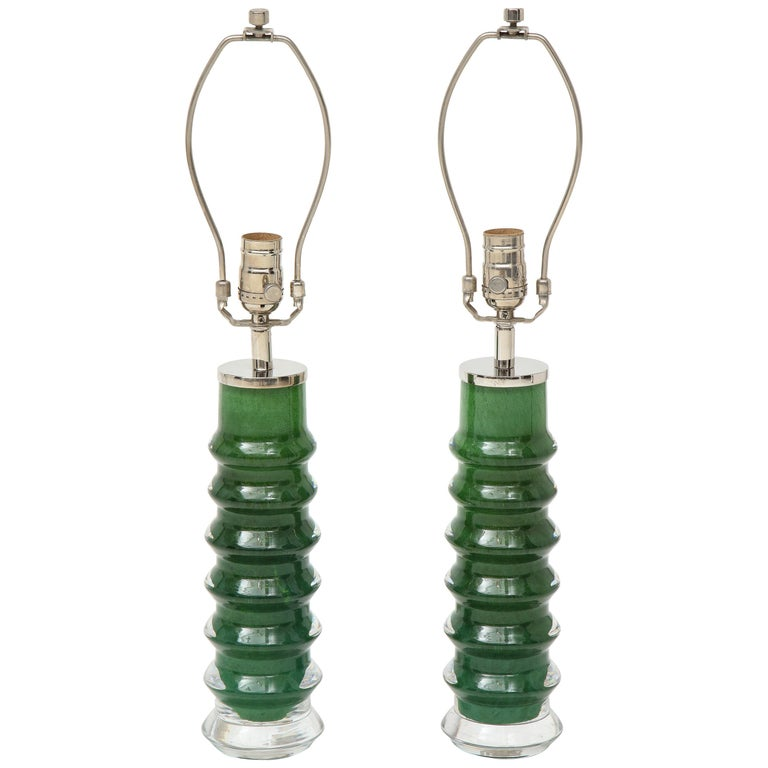 Orrefors Emerald Green Crystal Lamps For Sale