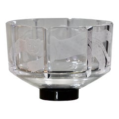 Orrefors Etched Glass 'Cat' Bowl, Designed by Gunner Cyren