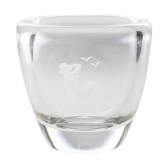 Orrefors Etched Glass Vase