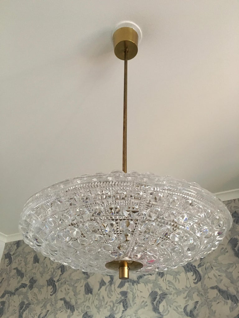 Mid-Century Modern Pair of Orrefors Flying Saucer Shaped Chandelier