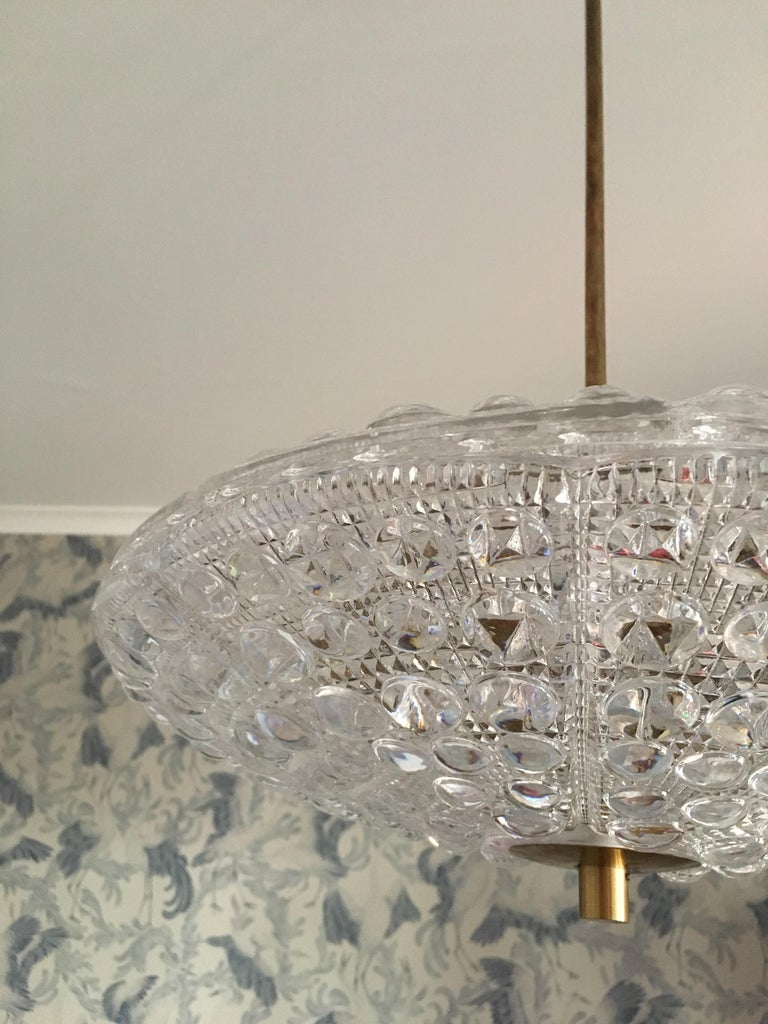 Pair of Orrefors Flying Saucer Shaped Chandelier In Excellent Condition In Stockholm, SE