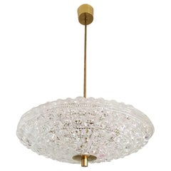 Pair of Orrefors Flying Saucer Shaped Chandelier
