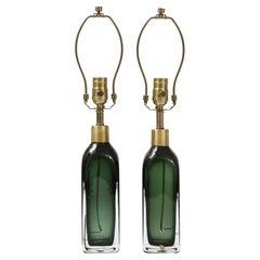 Orrefors Forest Green Bottle Form Lamps