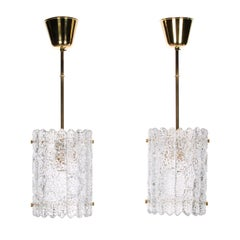 Orrefors Gefion Crystal Pendant Pair by Fagerlund for Lyfa/Orrefors, 1960s