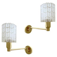 Orrefors Glass Sconces, Pair, Brass Wall Lights, Midcentury, Sweden