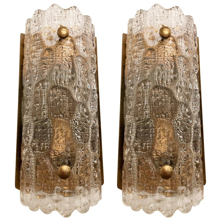 Orrefors Swedish 1950s Crystal Wall Lights For Sale