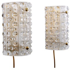 Orrefors Venus, Crystal Sconces by Lyfa / Orrefors, 1960s, Pair of Wall Lamps