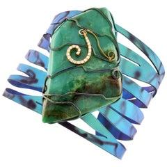 Orsa Maggiore 18 Karat Gold Titanium Chrysoprase Cuff Bracelet