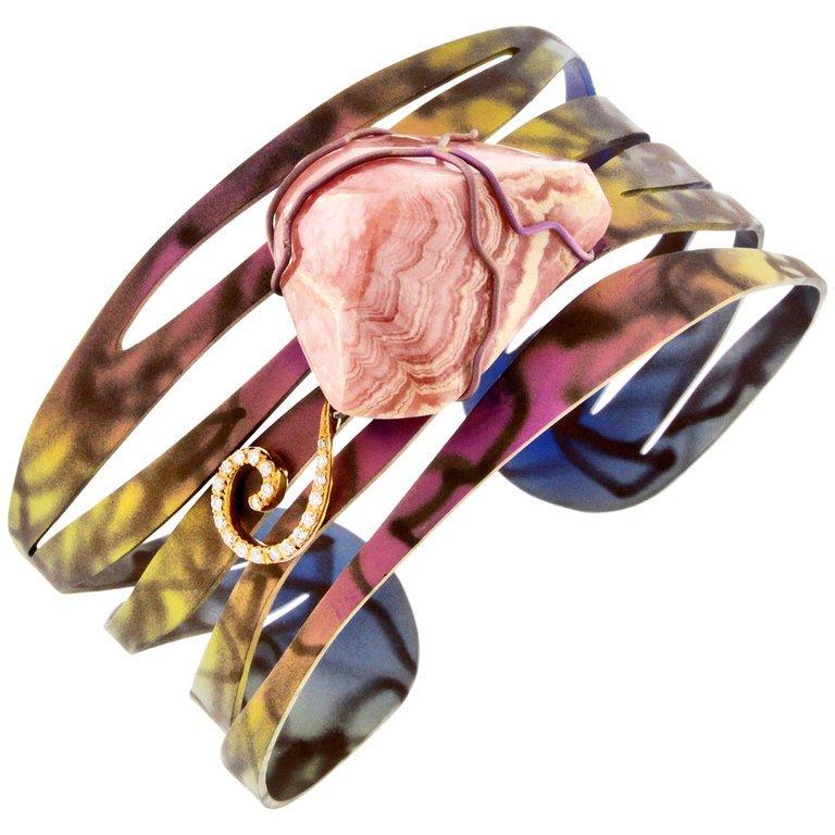 Orsa Maggiore 18 Karat Gold Titanium Rhodochrosite Cuff Bracelet For Sale