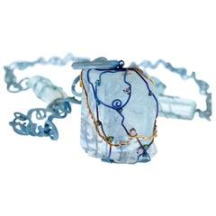 Orsa Maggiore Aquamarine Diamonds Tsavorite Titanium 18 Karat Gold Necklace