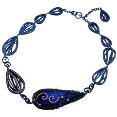 Orsa Maggiore Blue Opal Diamonds Titanium 18 Karat Gold Necklace