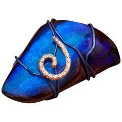 Orsa Maggiore Diamonds 18 Karat Gold Titanium Blue Boulder Opal Ring