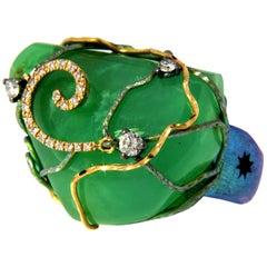 Orsa Maggiore Diamonds 18 Karat Gold Titanium Chrysoprase Ring
