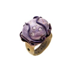 Orsa Maggiore Diamonds 18 Karat Gold Titanium Star Ruby Ring