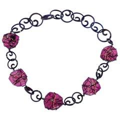 Orsa Maggiore Diamonds, Rubellite, Titanium 18 Karat Gold Necklace