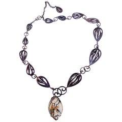 Orsa Maggiore Diamonds Rutilated Smoky Quartz Titanium 18 Karat Gold Necklace