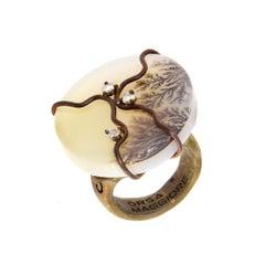 Orsa Maggiore Diamonds Titanium Moss Agate Ring