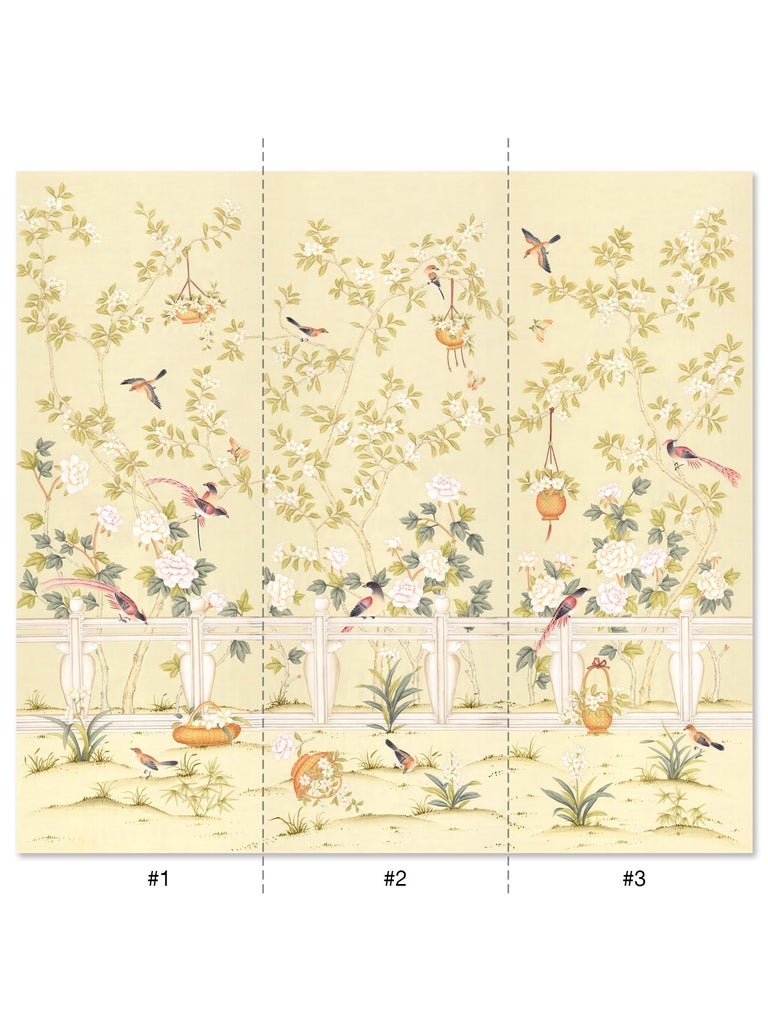 Based on a Classic design, Orsay Garden is a quintessential chinoiserie mural. Painted in cheerful spring tones on a sunny yellow silk ground, Orsay Garden exudes elegance and charm. The mural is comprised of three separate panels of paper, each 3