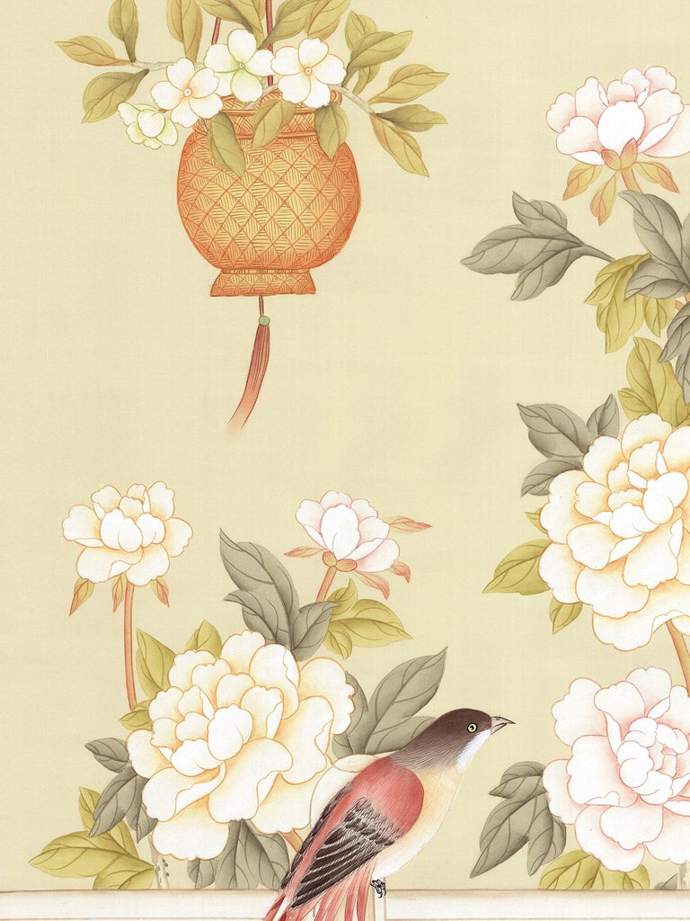 Hand-Painted Orsay Garden Chinoiserie Mural For Sale