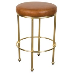 Orsini Counterstool in Leather and Brass by Lawson-Fenning