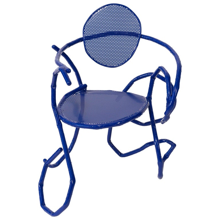 "OrtaMiklos, ""Melting Thonet"", Blue Steel Armchair, 2020 For Sale"