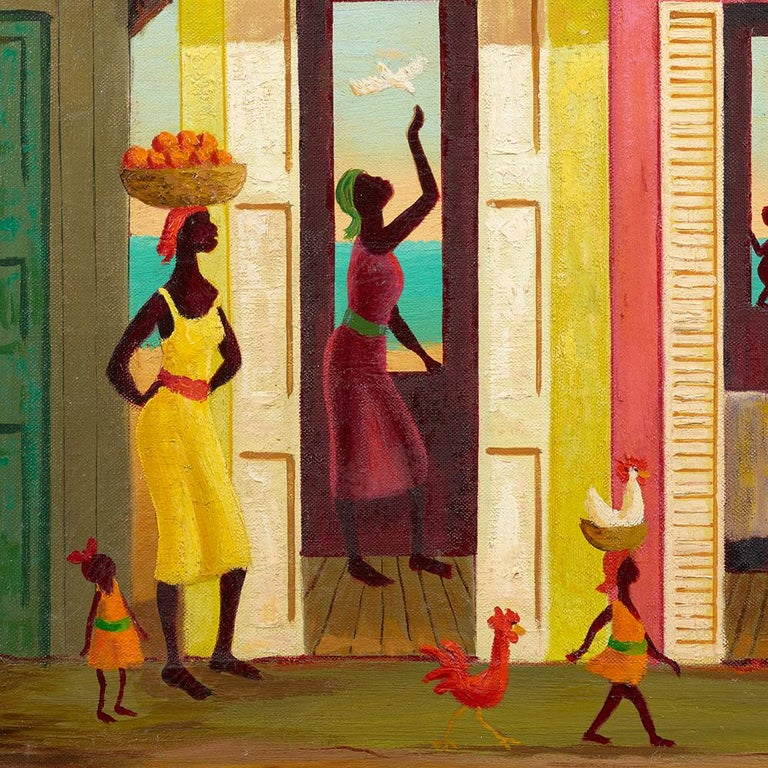 A group of figures outside a house.  The painting is in excellent condition, and the framed size is 26.375 x  24.375 inches.