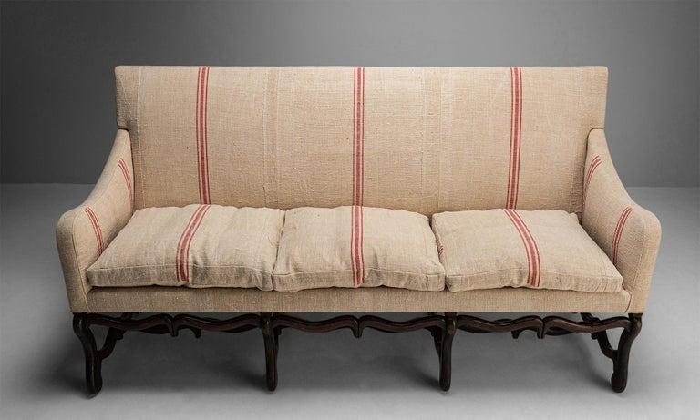 Carved Os de Mouton Sofa, France, circa 1790 For Sale