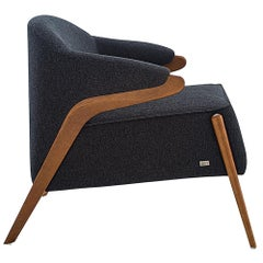 Osa Upholstered Armchair in Almond Finish and Charcoal Fabric