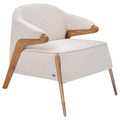 Osa Upholstered Armchair in Teak Finish and Oatmeal Fabric