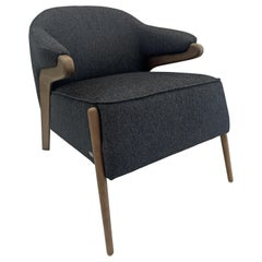Osa Upholstered Armchair in Walnut Finish and Charcoal Fabric