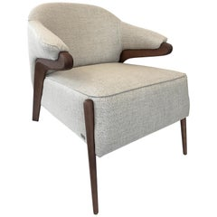 Osa Upholstered Armchair in Walnut Frame and Golden Fabric